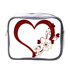 Red Love Heart With Flowers Romantic Valentine Birthday Mini Travel Toiletry Bag (one Side)