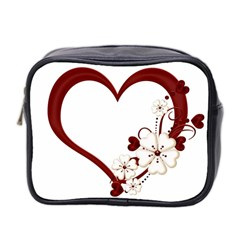 Red Love Heart With Flowers Romantic Valentine Birthday Mini Travel Toiletry Bag (Two Sides)
