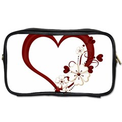 Red Love Heart With Flowers Romantic Valentine Birthday Travel Toiletry Bag (One Side)