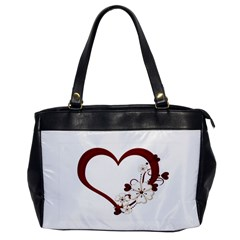 Red Love Heart With Flowers Romantic Valentine Birthday Oversize Office Handbag (One Side)