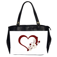 Red Love Heart With Flowers Romantic Valentine Birthday Oversize Office Handbag (two Sides)