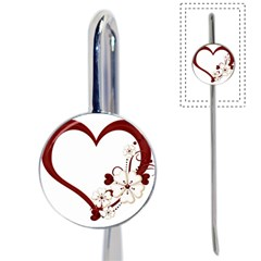 Red Love Heart With Flowers Romantic Valentine Birthday Bookmark
