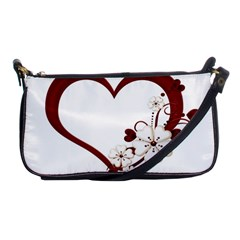 Red Love Heart With Flowers Romantic Valentine Birthday Evening Bag