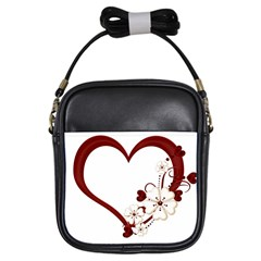 Red Love Heart With Flowers Romantic Valentine Birthday Girl s Sling Bag