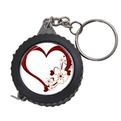 Red Love Heart With Flowers Romantic Valentine Birthday Measuring Tape