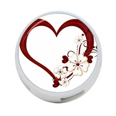 Red Love Heart With Flowers Romantic Valentine Birthday 4 Port Usb Hub (two Sides)
