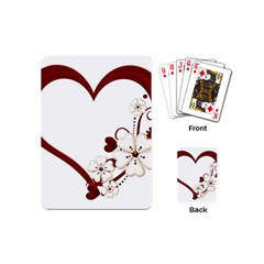 Red Love Heart With Flowers Romantic Valentine Birthday Playing Cards (mini)