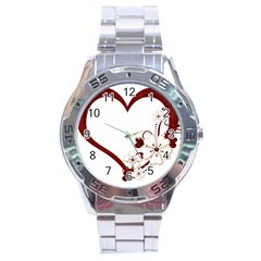 Red Love Heart With Flowers Romantic Valentine Birthday Stainless Steel Watch