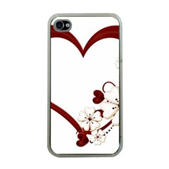 Red Love Heart With Flowers Romantic Valentine Birthday Apple Iphone 4 Case (clear)