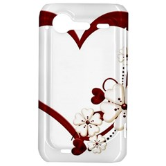 Red Love Heart With Flowers Romantic Valentine Birthday HTC Incredible S Hardshell Case