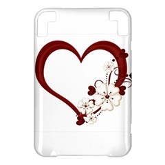Red Love Heart With Flowers Romantic Valentine Birthday Kindle 3 Keyboard 3G Hardshell Case