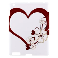 Red Love Heart With Flowers Romantic Valentine Birthday Apple Ipad 3/4 Hardshell Case