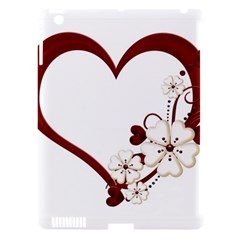 Red Love Heart With Flowers Romantic Valentine Birthday Apple iPad 3/4 Hardshell Case (Compatible with Smart Cover)