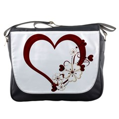 Red Love Heart With Flowers Romantic Valentine Birthday Messenger Bag