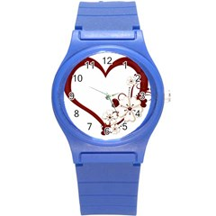 Red Love Heart With Flowers Romantic Valentine Birthday Plastic Sport Watch (Small)