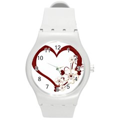 Red Love Heart With Flowers Romantic Valentine Birthday Plastic Sport Watch (medium)