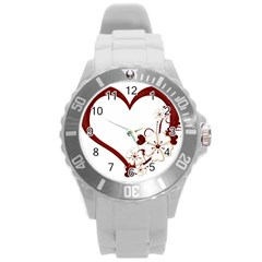 Red Love Heart With Flowers Romantic Valentine Birthday Plastic Sport Watch (Large)