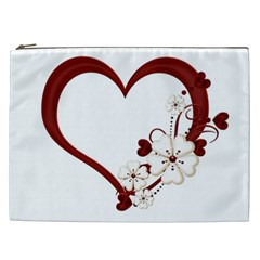 Red Love Heart With Flowers Romantic Valentine Birthday Cosmetic Bag (XXL)