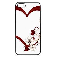 Red Love Heart With Flowers Romantic Valentine Birthday Apple iPhone 5 Seamless Case (Black)