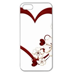 Red Love Heart With Flowers Romantic Valentine Birthday Apple Seamless Iphone 5 Case (clear)