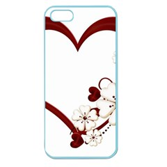 Red Love Heart With Flowers Romantic Valentine Birthday Apple Seamless Iphone 5 Case (color)