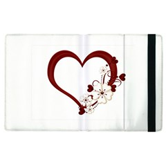 Red Love Heart With Flowers Romantic Valentine Birthday Apple Ipad 2 Flip Case
