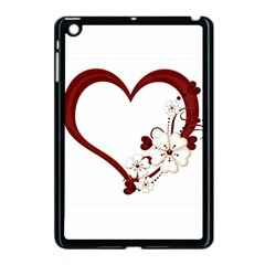 Red Love Heart With Flowers Romantic Valentine Birthday Apple iPad Mini Case (Black)