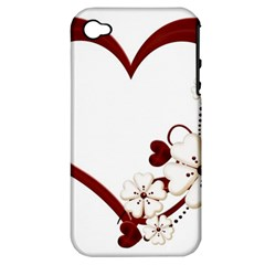 Red Love Heart With Flowers Romantic Valentine Birthday Apple Iphone 4/4s Hardshell Case (pc+silicone)
