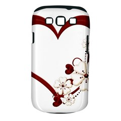 Red Love Heart With Flowers Romantic Valentine Birthday Samsung Galaxy S III Classic Hardshell Case (PC+Silicone)