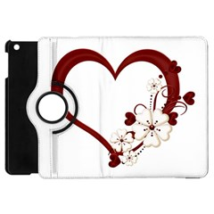 Red Love Heart With Flowers Romantic Valentine Birthday Apple Ipad Mini Flip 360 Case