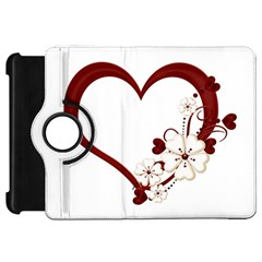 Red Love Heart With Flowers Romantic Valentine Birthday Kindle Fire Hd 7  (1st Gen) Flip 360 Case