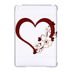 Red Love Heart With Flowers Romantic Valentine Birthday Apple iPad Mini Hardshell Case (Compatible with Smart Cover)
