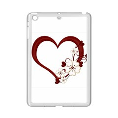 Red Love Heart With Flowers Romantic Valentine Birthday Apple Ipad Mini 2 Case (white)