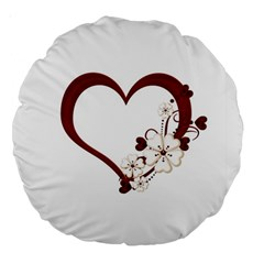 Red Love Heart With Flowers Romantic Valentine Birthday 18  Premium Round Cushion