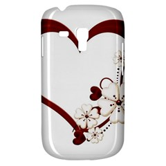 Red Love Heart With Flowers Romantic Valentine Birthday Samsung Galaxy S3 MINI I8190 Hardshell Case