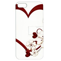 Red Love Heart With Flowers Romantic Valentine Birthday Apple Iphone 5 Hardshell Case With Stand