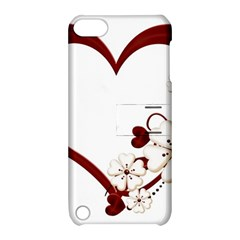 Red Love Heart With Flowers Romantic Valentine Birthday Apple iPod Touch 5 Hardshell Case with Stand