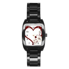 Red Love Heart With Flowers Romantic Valentine Birthday Stainless Steel Barrel Watch
