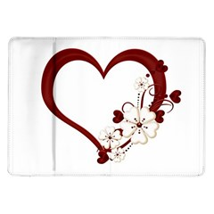 Red Love Heart With Flowers Romantic Valentine Birthday Samsung Galaxy Tab 10 1  P7500 Flip Case