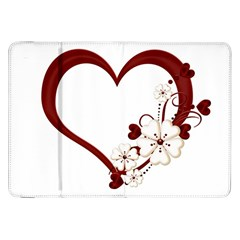 Red Love Heart With Flowers Romantic Valentine Birthday Samsung Galaxy Tab 8 9  P7300 Flip Case