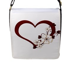 Red Love Heart With Flowers Romantic Valentine Birthday Flap Closure Messenger Bag (large)