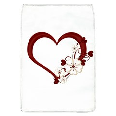 Red Love Heart With Flowers Romantic Valentine Birthday Removable Flap Cover (large)
