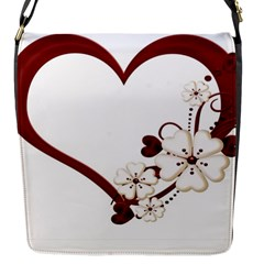 Red Love Heart With Flowers Romantic Valentine Birthday Flap Closure Messenger Bag (Small)