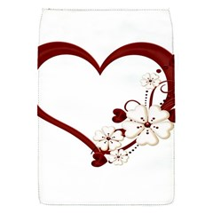 Red Love Heart With Flowers Romantic Valentine Birthday Removable Flap Cover (Small)