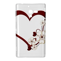 Red Love Heart With Flowers Romantic Valentine Birthday Sony Xperia ZL L35H Hardshell Case
