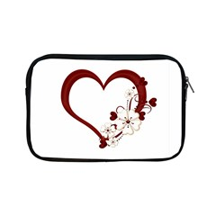 Red Love Heart With Flowers Romantic Valentine Birthday Apple iPad Mini Zippered Sleeve