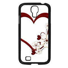 Red Love Heart With Flowers Romantic Valentine Birthday Samsung Galaxy S4 I9500/ I9505 Case (Black)