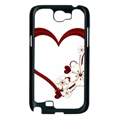 Red Love Heart With Flowers Romantic Valentine Birthday Samsung Galaxy Note 2 Case (Black)