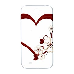 Red Love Heart With Flowers Romantic Valentine Birthday Samsung Galaxy S4 I9500/I9505  Hardshell Back Case