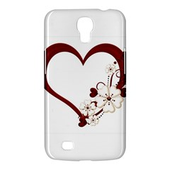 Red Love Heart With Flowers Romantic Valentine Birthday Samsung Galaxy Mega 6.3  I9200